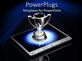 Beautiful presentation theme with silver trophy on top of laptop, winning in business metaphor