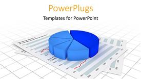 Elegant PPT theme enhanced with a pie chart with a lot of reports in the background