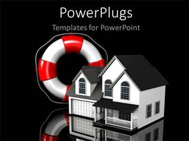 PPT theme consisting of simple residential house with white and red lifesaver in grey background