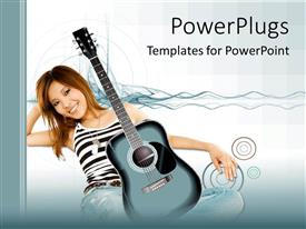 Elegant presentation theme enhanced with sitting woman resting on arm with acoustic guitar on lap