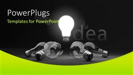 Presentation design enhanced with glowing light bulb depicting bright idea in middle with others around it