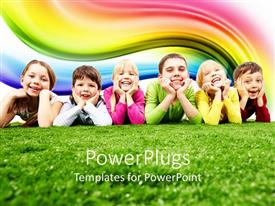 Elegant presentation theme enhanced with six happy kids, three girls and three boys lying on green grass smiling happy at the camera with rainbow in the background