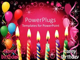 5000 birthday powerpoint templates w birthday themed backgrounds audience pleasing presentation theme featuring six lit birthday candles balloons party pink and black background toneelgroepblik Images