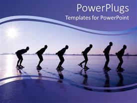 Elegant PPT theme enhanced with six men ice skating at dawn in purple background