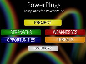 Amazing PPT layouts consisting of six multi colored  project management tags for SWOT analysis