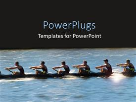 Elegant PPT layouts enhanced with six people on a boat on river with black background