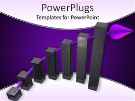 Elegant slide deck enhanced with six vertical black bars with a purple arrow behind them