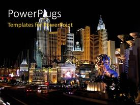 Colorful presentation design having sky scappers in night at Las Vegas