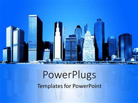 Audience pleasing PPT layouts featuring skyline of New York city with reflection in background