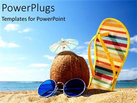 Beautiful PPT theme with a sleeper along with a coconut and sunglasses on a beach