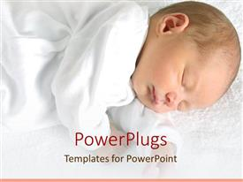 PPT theme consisting of sleeping newborn baby dressed in white on white soft blanket