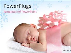 PPT theme featuring sleeping newborn wrapped in a broad pink ribbon and a bow with blue decorative shapes