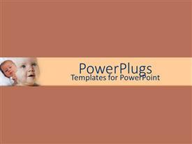 Elegant presentation design enhanced with sleepy newborn next to smiling baby on brown background