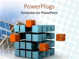 Elegant PPT theme enhanced with sliced cube with blue and orange small cubes showing motion and change with glass building construction in the background