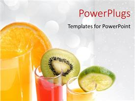 Theme with sliced fruits hanging onglasses of juice on white background