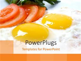 Elegant presentation theme enhanced with slices of tomatoes and vegetables with two fried egg yokes
