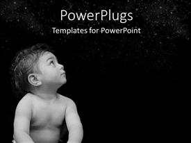 Beautiful PPT layouts with a small baby staring up into the dark sky