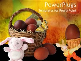 Presentation theme consisting of small basket filled with easter eggs and two easter bunnies