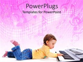 Elegant slide deck enhanced with a small kid playing a piano on a pink background