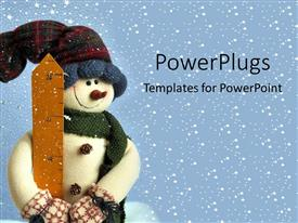PPT layouts with small snowman in snow holidays christmas decorations