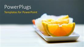 Elegant PPT layouts enhanced with small white rectangular plate bearing slices of orange and other fruits