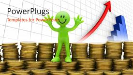 Elegant PPT theme enhanced with a lot of coins with a happy person