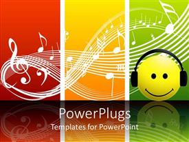 Audience pleasing presentation theme featuring a smiley with earphone listening the music