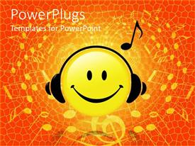 PPT layouts enhanced with smiley face wearing headphones listening to music reddish orange background