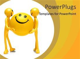 Amazing slide set consisting of smiley figures holding large smiley ball