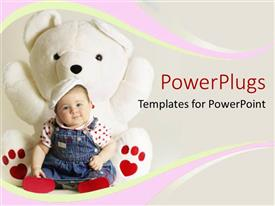 Beautiful presentation design with smiling baby girl sitting against big fluffly white teddy bear toy with heart shape