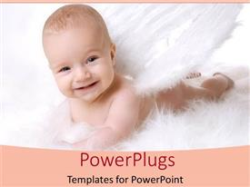 Amazing slides consisting of smiling baby lying down in angel costume in white background