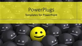 Colorful PPT layouts having lots of black smiles with an outstanding yellow one in the centre