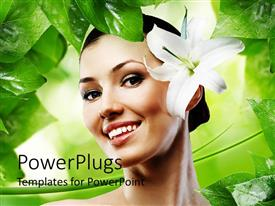 Colorful PPT theme having smiling beautiful woman with white flower in green background