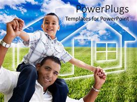 Amazing PPT theme consisting of smiling Father carries son over shoulder on green vegetation and blue sky