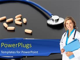 Elegant PPT theme enhanced with smiling female doctor with orange tablets and stethoscope on black background