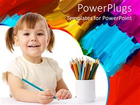 Audience pleasing PPT theme featuring smiling happy girl with colored pencils in cup and painting in the background