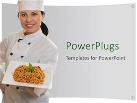 Beautiful PPT layouts with smiling lady chef holding plate of pasta