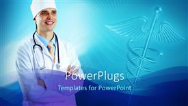 Amazing presentation consisting of a man in white surgical outfit and stethoscope smiling
