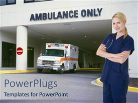 Presentation theme featuring smiling nurse standing in front of hospital entrance written ambulance only