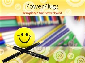 Beautiful PPT theme with smiling smiley with two black pen crossed over pile of notebooks