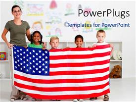 1000 american revolution powerpoint templates w american presentation design consisting of smiling teacher with four little kids holding up american flag toneelgroepblik Image collections