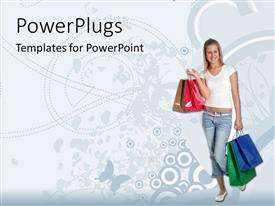 Colorful PPT theme having smiling woman carrying multi colored shopping bags in white background