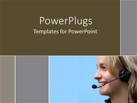 Presentation enhanced with smiling woman wearing telephone headset on blue and gray background