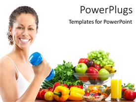 PPT theme consisting of smiling woman working out withblue dumbbell with vegetables on white background
