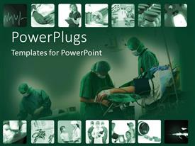 Amazing PPT layouts consisting of snapshots of time in hospital with surgery and doctors on a green background