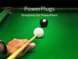 Colorful presentation having snooker board with man playing cue against last ball