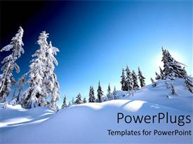 PPT theme with snow alps with white snow covered trees