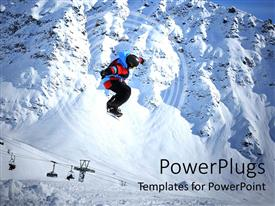 PPT theme consisting of snow boarder jumping over lots of snow with mountains behind