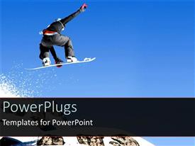 PPT theme having snowboarder jumping over snowy mountain, blue sky