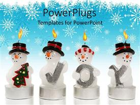 Amazing PPT layouts consisting of snowman candle with Christmas tree and three more snowmen with letters spelling joy